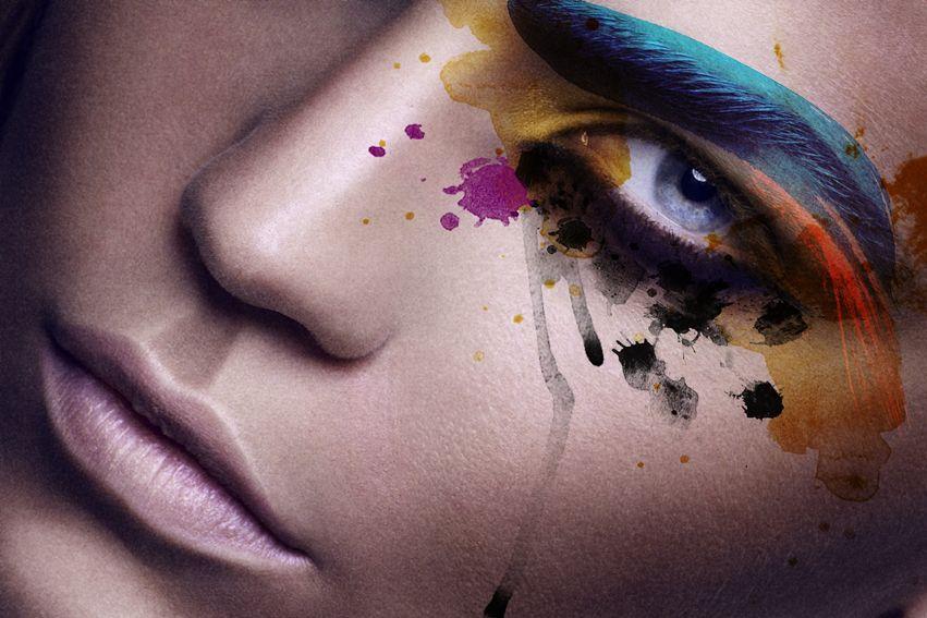 Awesome Colorful Makeup Mascara Tears Blue Eyebrows Yellow And Pink Eye Shadows Creative Makeup Www Darynabarykina Com