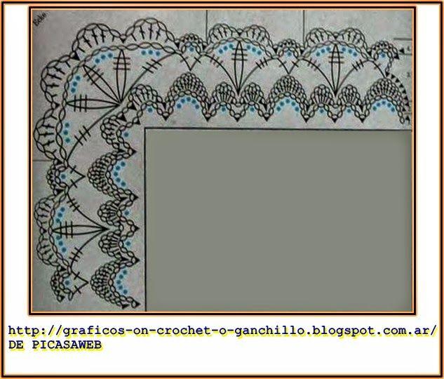 PATRONES=GANCHILLO = CROCHET = GRAFICOS =TRICOT = DOS AGUJAS: PUNTILLAS PARA MANTAS BEBE TEJIDA A GANCHILLO