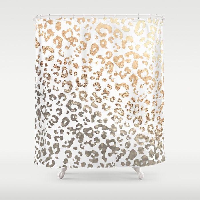 GOLD LEO Shower Curtain by Monika Strigel ★★ SHOWER