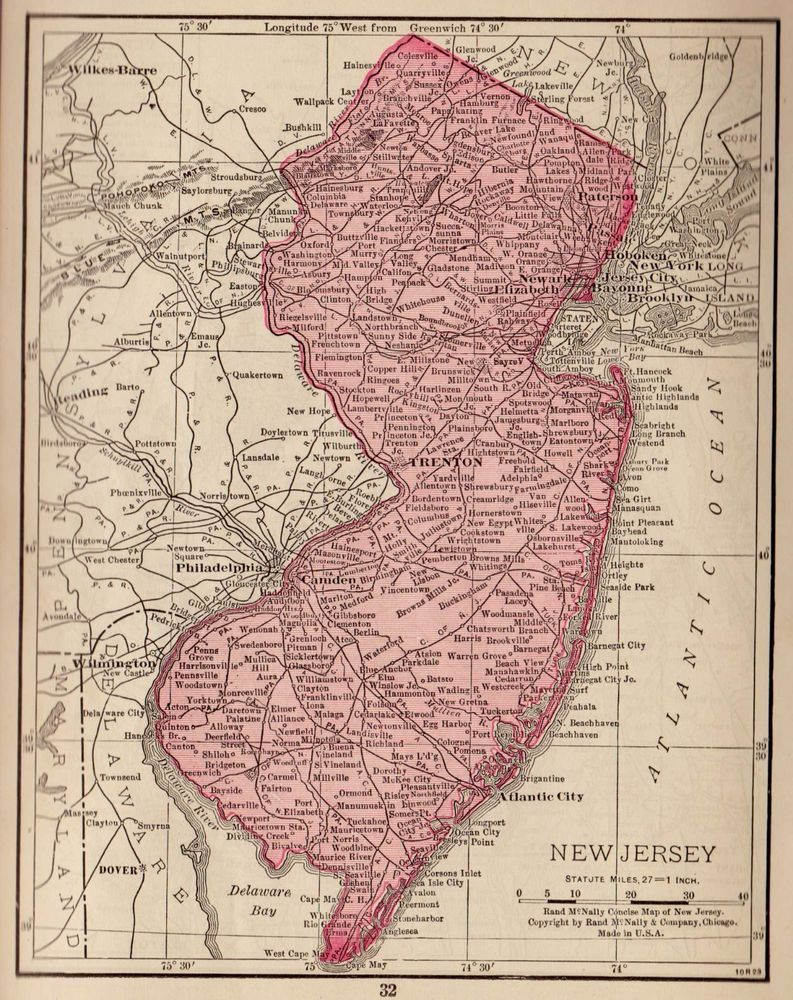 1928 Antique New Jersey Map Miniature Vintage State Map Of New