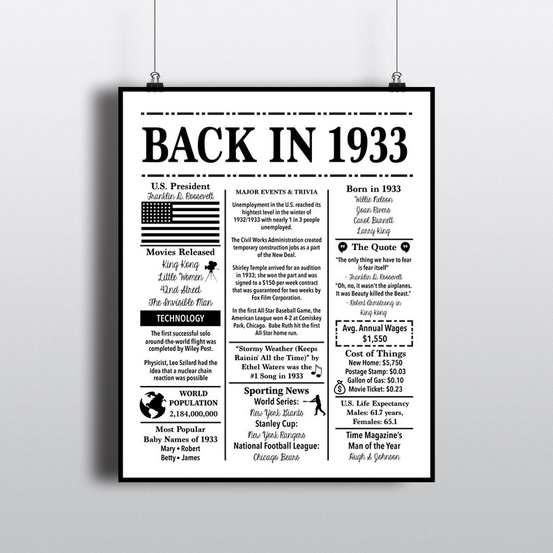 1933 Back In 1933 Black And White Poster Birthday 1933 Facts Etsy Black And White Posters Birthday Poster 1964 Facts