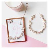 Brautschmuck roségold  Die Kollektion EMMA ist ganz besonders: zarte rosa Blume…