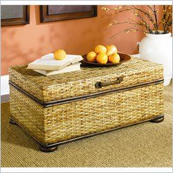 Hammary Hidden Treasures Woven Rattan Trunk Coffee Table in Light