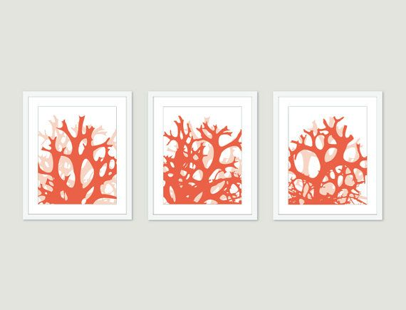 Coral digital print set wall art abstract modern home by aldariart also birds and branches yellow decor rh pinterest
