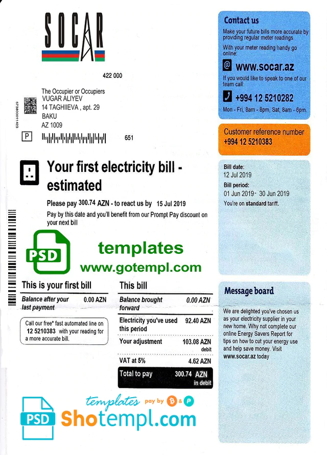 Azerbaijan Socar Electricity Utility Bill Template Fully Editable In Psd Format Bill Template Templates Document Templates