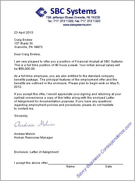 A job offer letter format Business Letters Pinterest – Sample Offer Letters