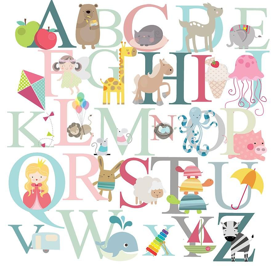 Alphabet fabric wall stickerslittle prints noth £50