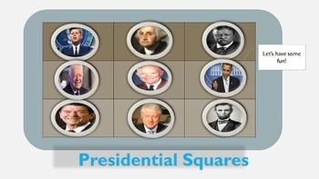 presidential squares powerpoint game template classroom powerpoint