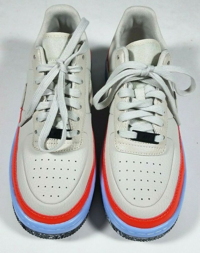 335594d937952 NIKE Air Force 1 Bone Ivory Orange Blue Leather Jester Sneakers ...