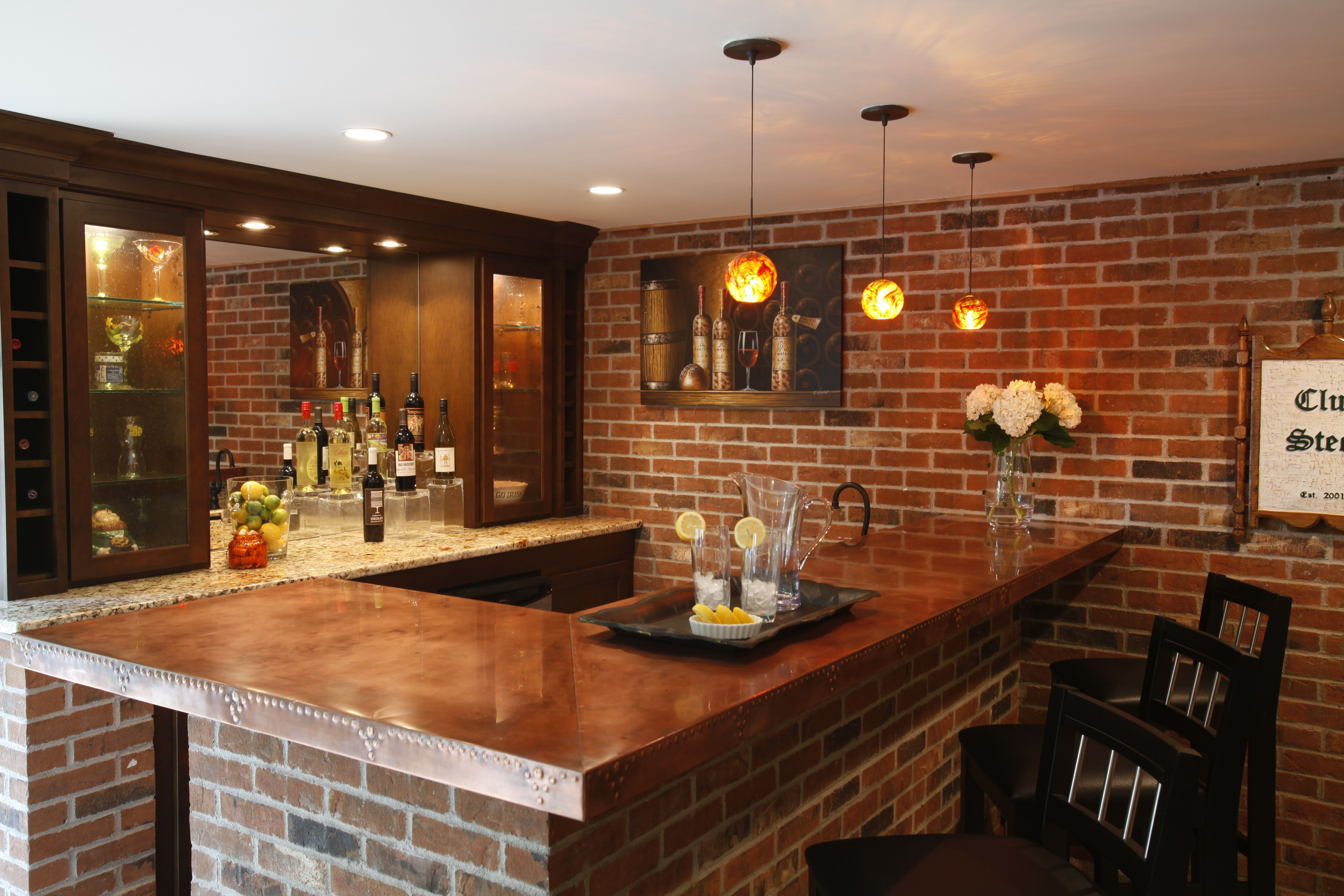 Basement With Exposed Brick Copper Countertops Mirrored - Bar kits for basement