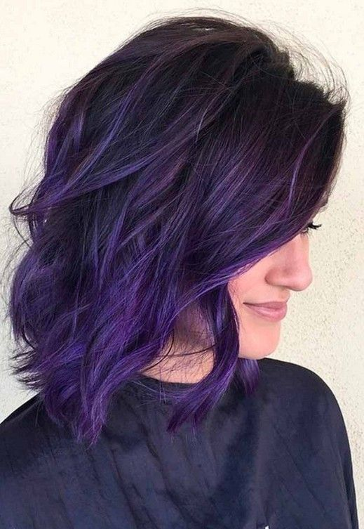 68 Stunning Purple Hairstyle Design Suitable For Long Hair And Short Hair You Should Try Haircut Id Dark Purple Hair Color Hair Styles Dark Purple Hair