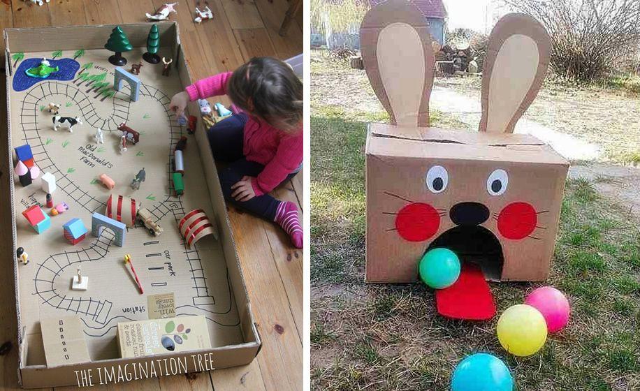 13 Juegos Hechos Con Cajas De Cartón Caja De Cartón Juegos De Feria Juegos Didacticos Para Bebes