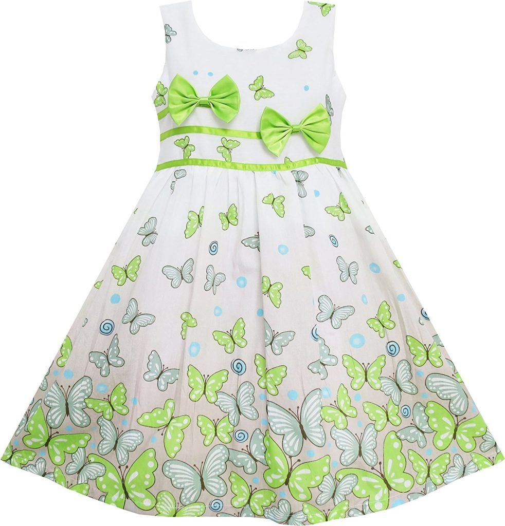 c1387e4a95a Sunny Fashion Girls Dress Rose Flower Double Bow Tie Party Sundress ...
