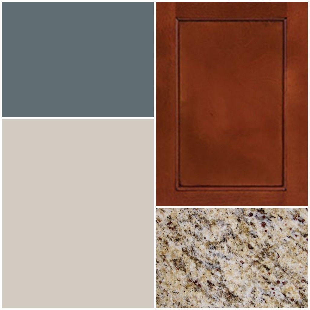 Color scheme for kitchen/living room -- Granite: St. Cecilia -- Cabinets: Cherry wood -- Kitchen Accent: Slate Tile (Sherwin Willams) -- Living Room Neutral: Agreeable Gray (Sherwin Williams) #sherwinwilliamsagreeablegray - butchart gardens #sherwinwilliamsagreeablegray