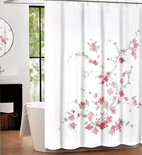 Tahari Home Luxurious Fabric Shower Curtain Printemps Light Pink Grey72 X 72 Read More Reviews Of The Pink Shower Curtains Blue Shower Curtains Tahari Home
