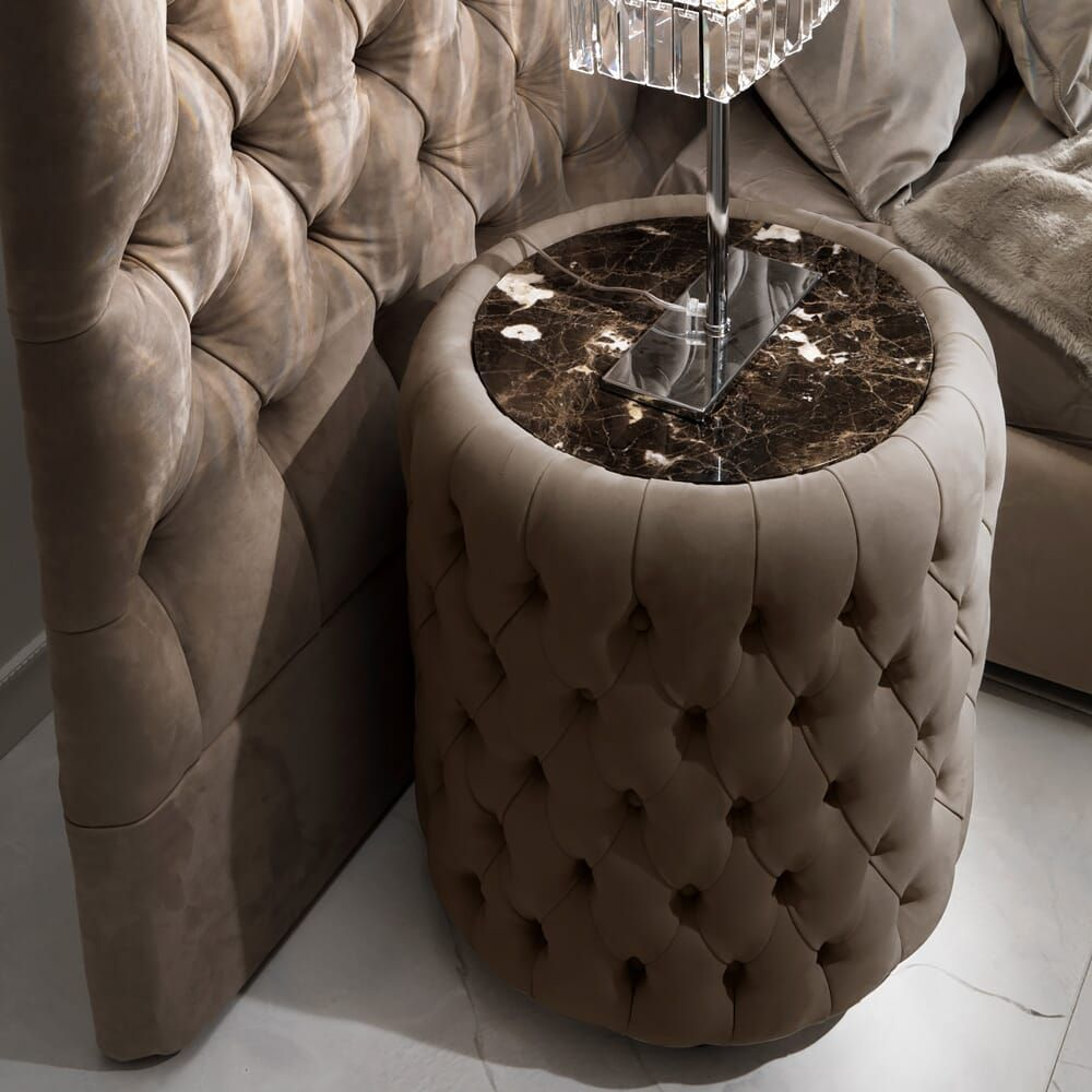 Best Modern Round Button Upholstered Nubuk Leather Bedside 640 x 480