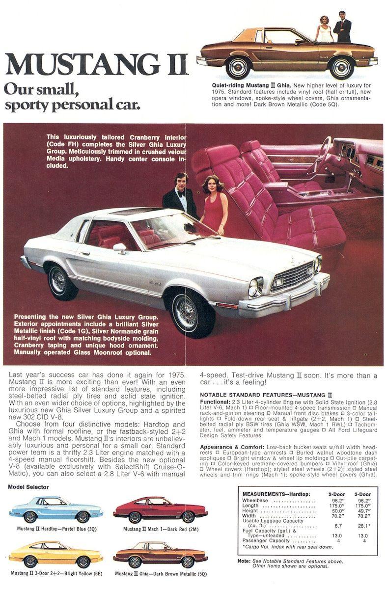1975 Mustang Ii Promotional Sales Brochure Mustang Ii Mustang Mustang Cars