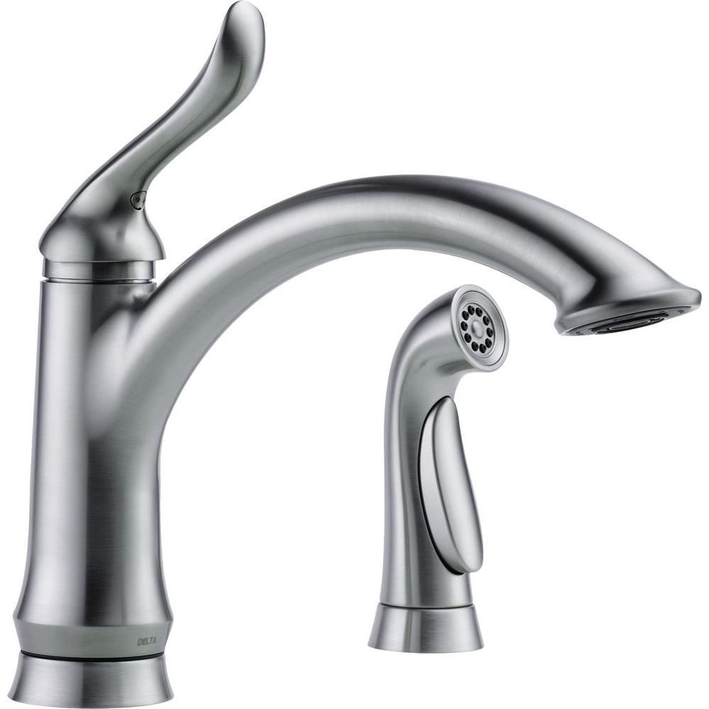 Delta Linden Single Handle Standard Kitchen Faucet With Side