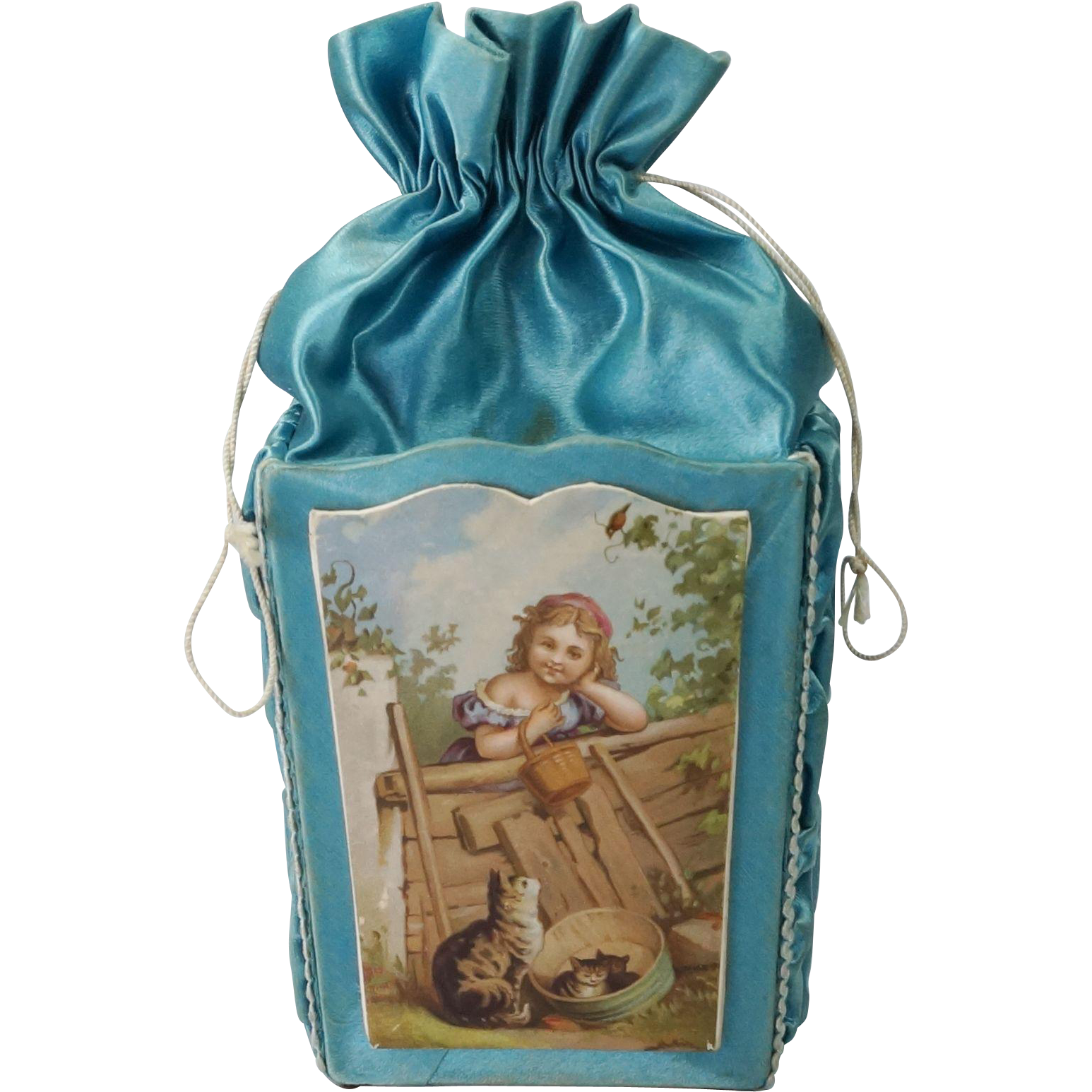 19th Century French Silk Chocolate Box Candy Container Rare
