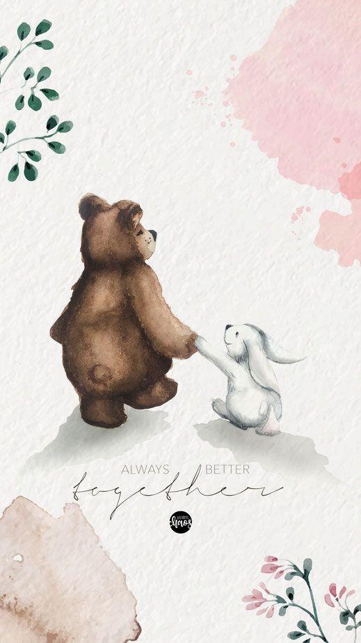 Photo of Immer besser zusammen 'Aquarell Freebie Wallpaper #animals #Sweetaquarell #f …