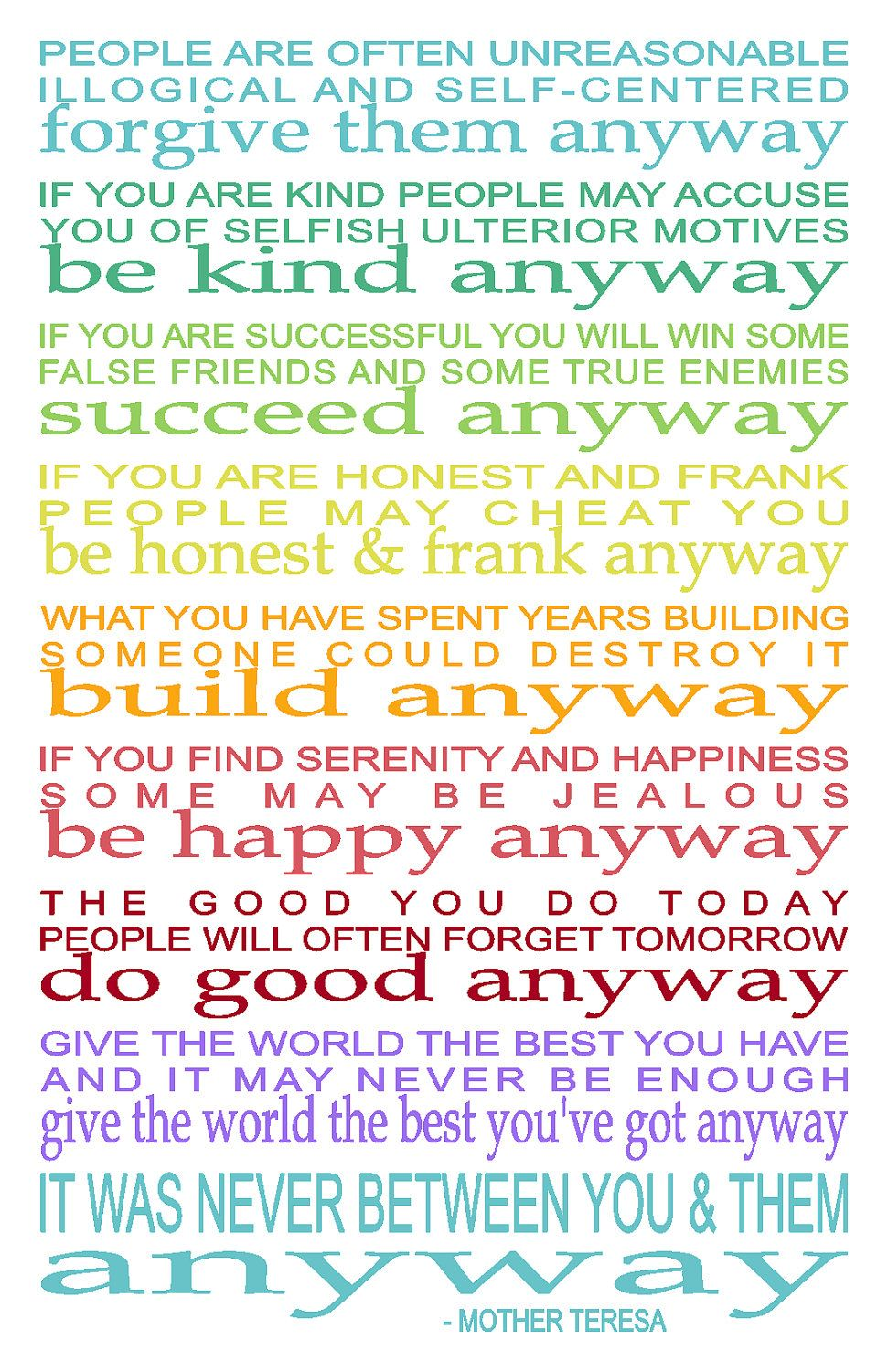 Mother Teresa Quotes Love Anyway Do It Anyway  11 X 17 Inspirational Print Mother Teresa