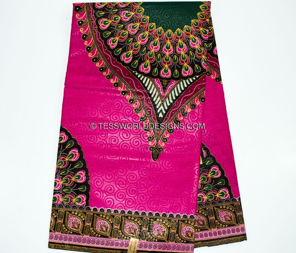 DS07- Fuchsia pink Dashiki Fabric - Peacock feather 6 yards