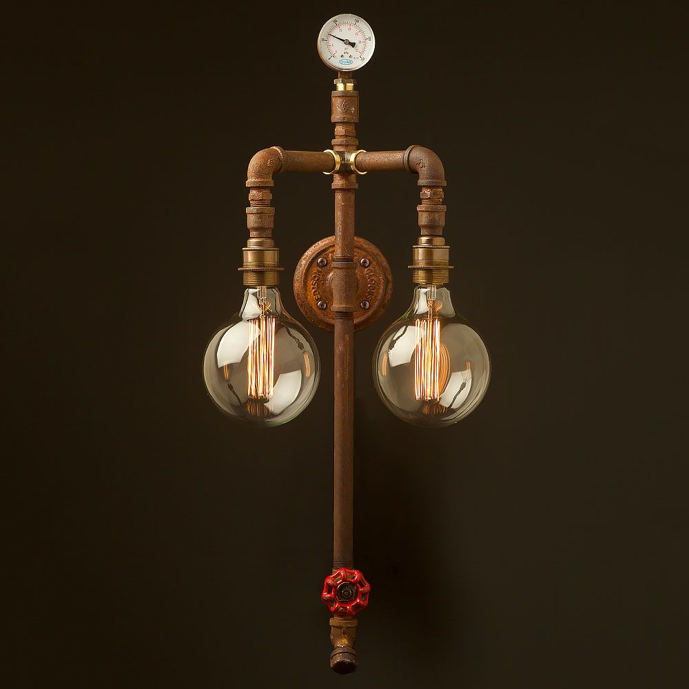 Industrial plumbing pipe twin bulb wall light This light fitting can be used to light up & Industrial plumbing pipe twin bulb wall light This light fitting ... azcodes.com