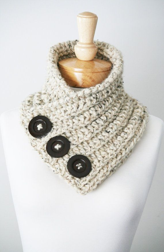 Chunky Button Scarf, Chunky Knit Scarf, Knitwear, Crocheted Scarf ...