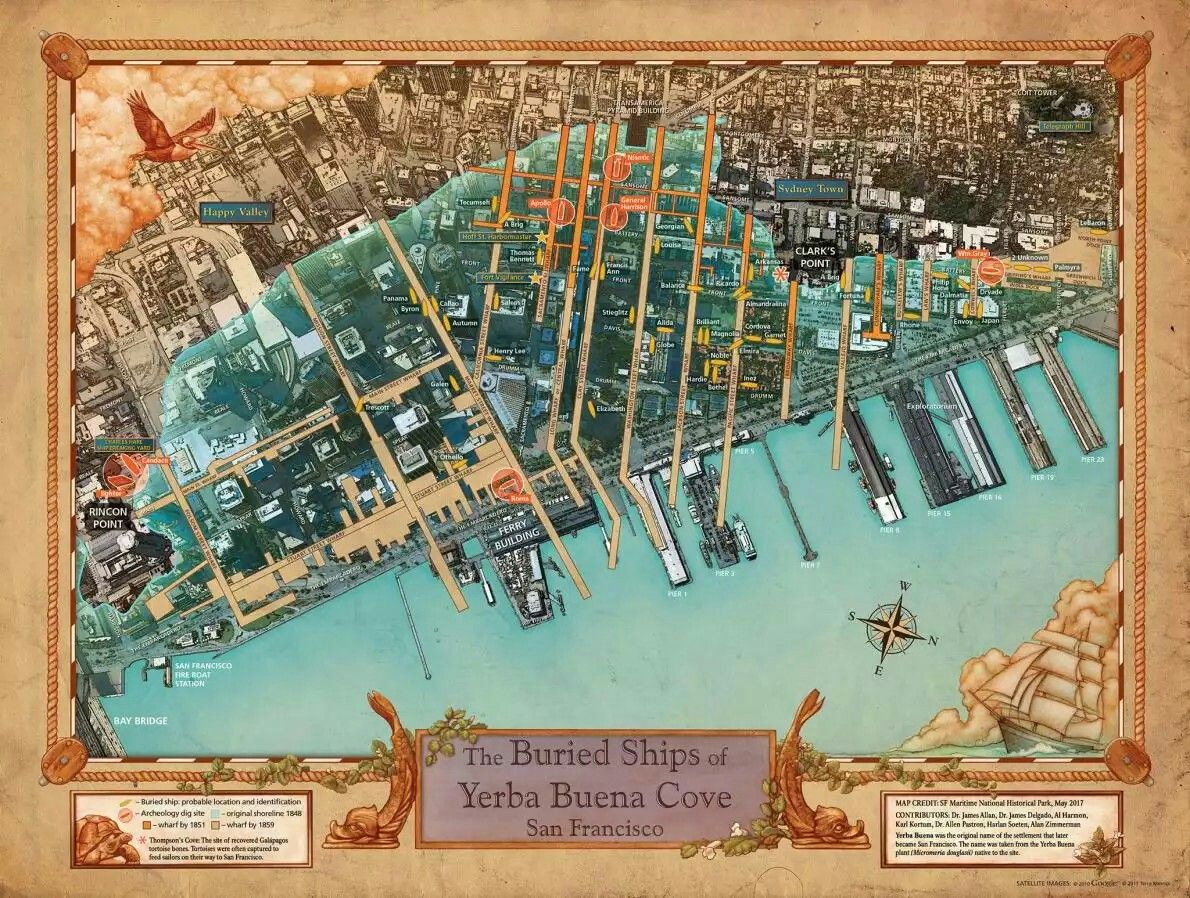 Buried ships of San Francisco map Buried