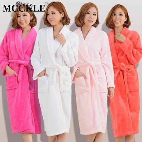 e4eaaf01bc MCCKLE Women Men Flannel Bath Robe Sleepwear 2018 Autumn Winter Solid Plush  Couple Bathrobe Thicken Warm Female Robe Nightgown