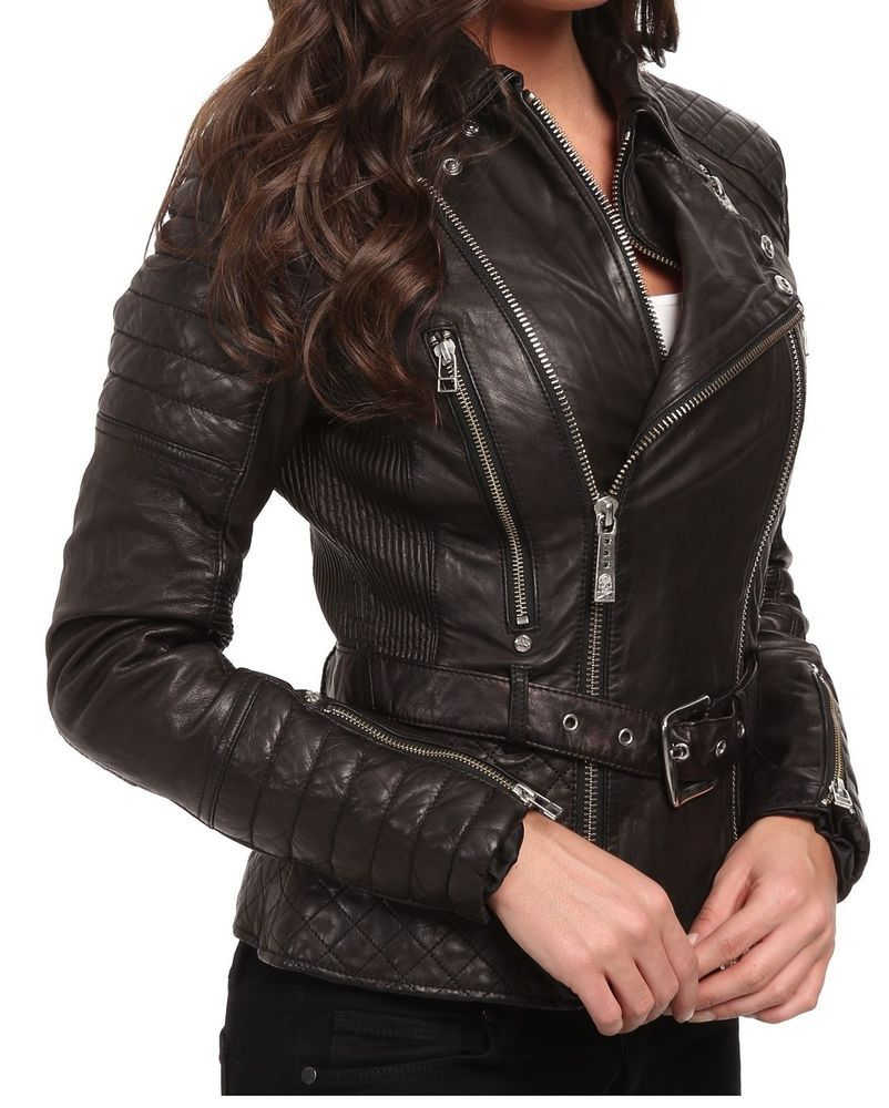 ef04f5a07 HOT Women's Genuine Lambskin Leather Motorcycle Slim fit sexy Biker ...