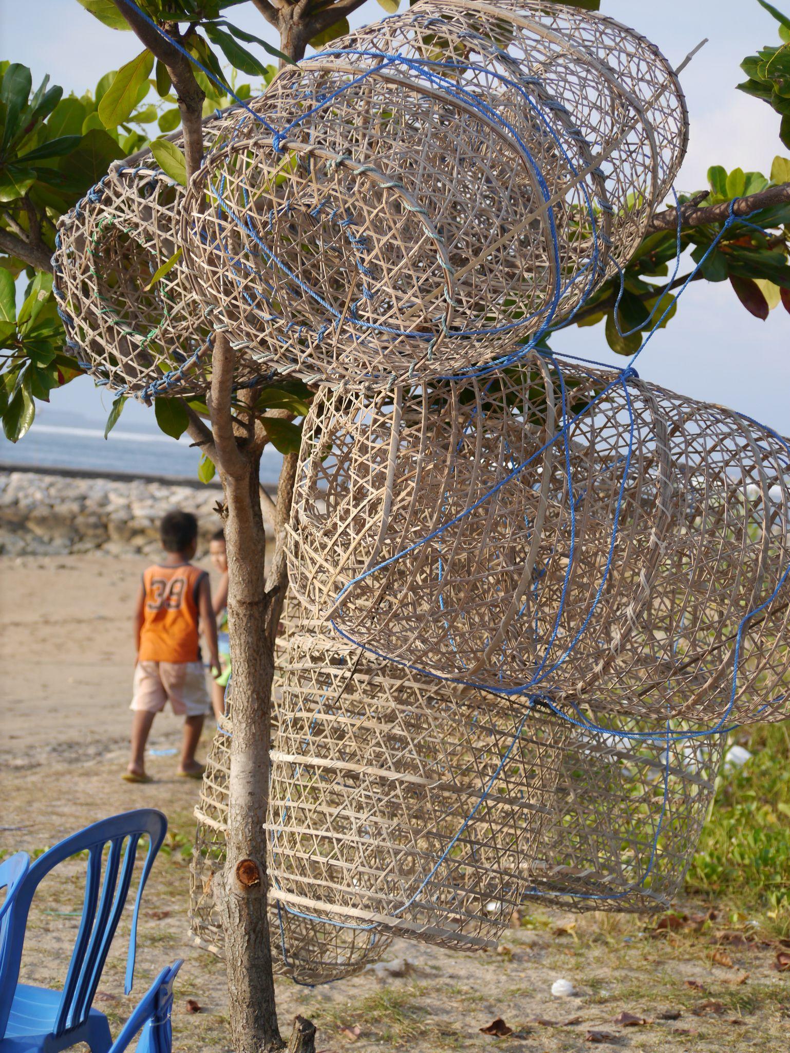 Fishing baskets on Nusa Dua beach Bali