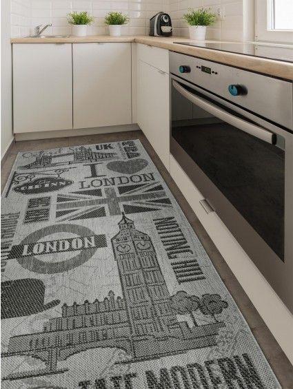 Küchenläufer London Grau | Teppich küche, Küchenteppich und Küchenläufer