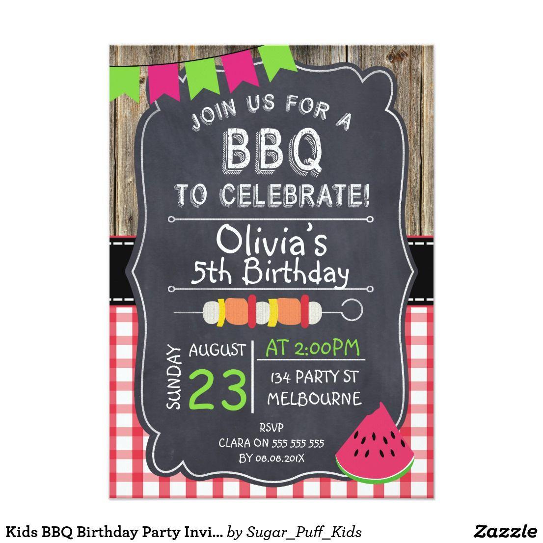 Kids BBQ Birthday Party Invitation | Kid\'s Birthdays | Pinterest ...