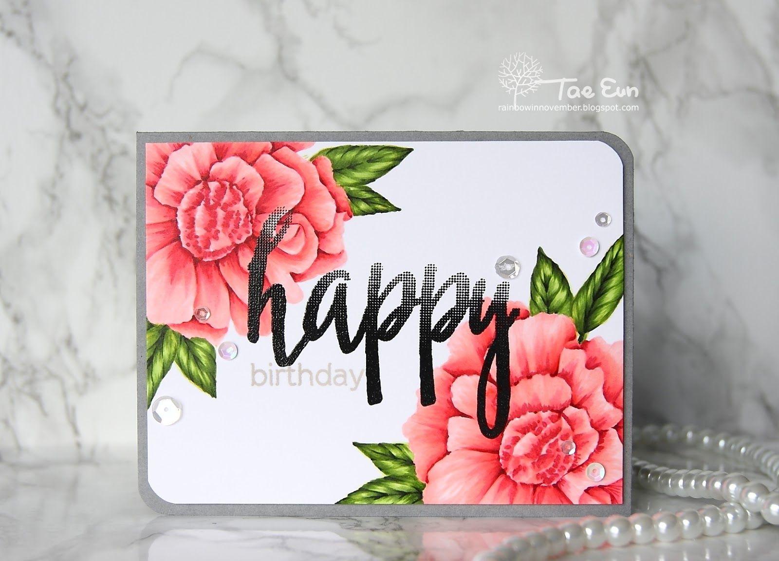 Handmade Birthday Card From Rainbow In November Gorgeous Flowers