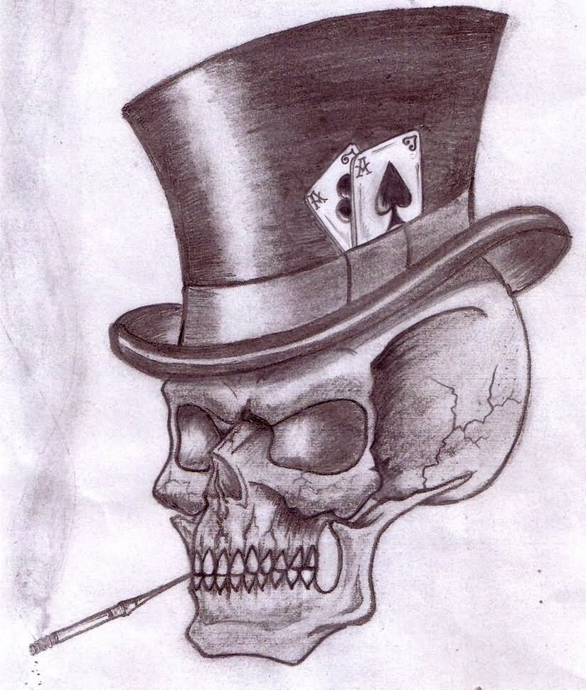 smoking skull with hat gambling tattoo design i pinterest. Black Bedroom Furniture Sets. Home Design Ideas