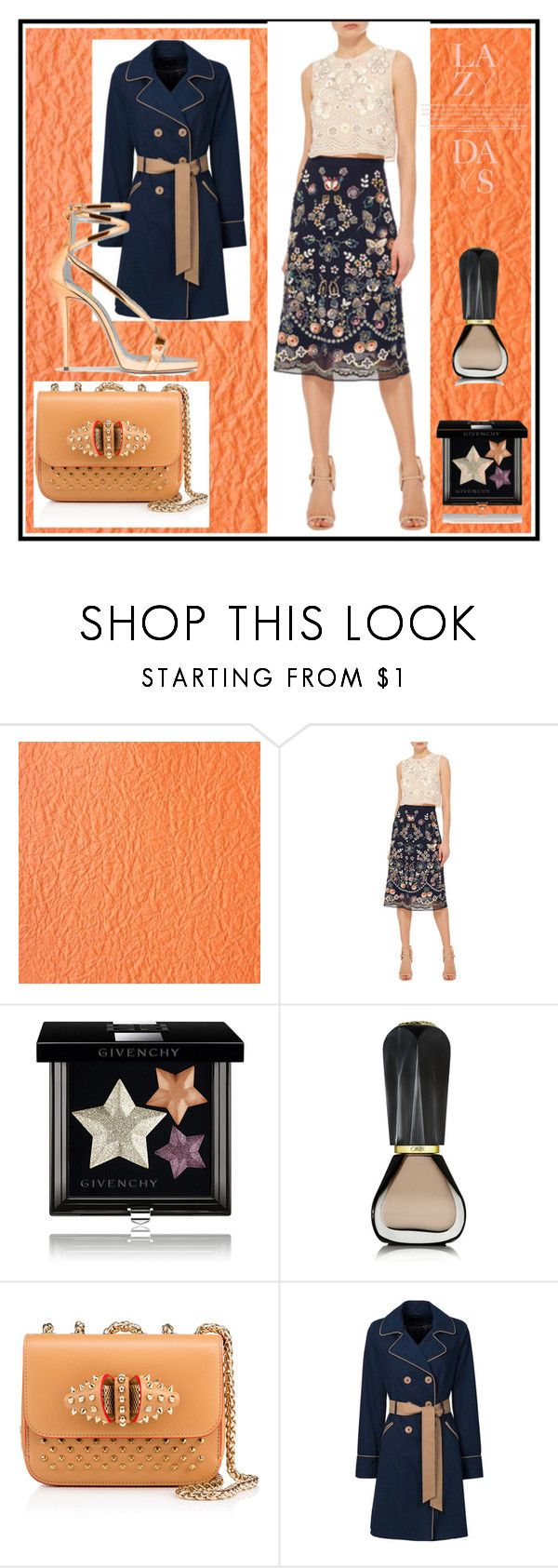 """Printed skirt"" by evachasioti ❤ liked on Polyvore featuring Needle & Thread, Givenchy, Oribe and Christian Louboutin"
