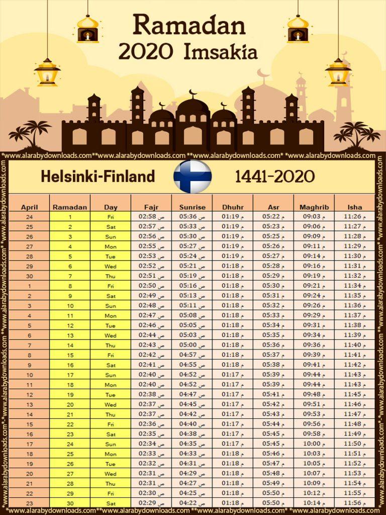 امساكية رمضان 2020 هلسنكي فنلندا تقويم 1441 Ramadan Imsakia Helsinki Finland Ramadan Helsinki Finland