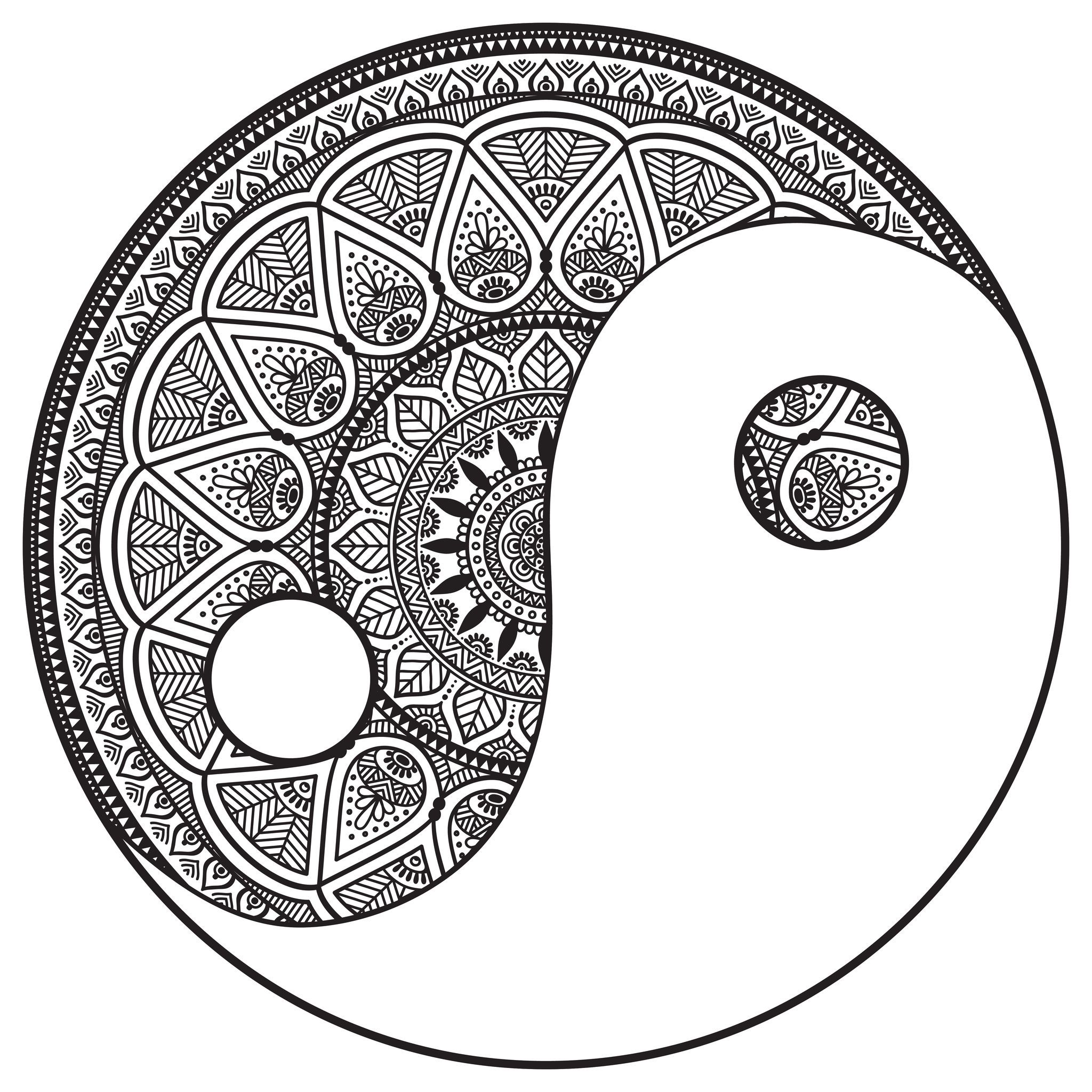 Yin And Yang Mandala Mandala Coloring Mandala Coloring Pages Mandala Art Lesson