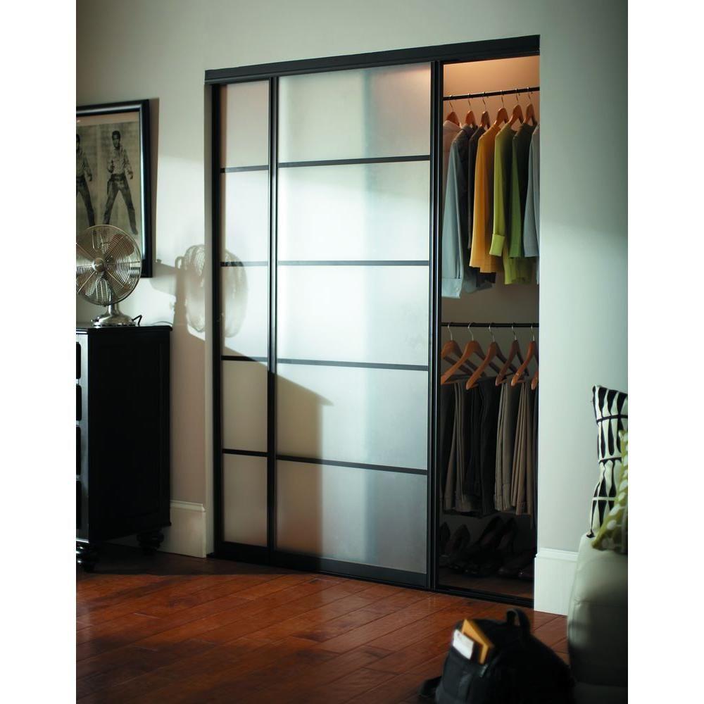 Contractors Wardrobe 72 In X 81 In Silhouette 5 Lite Bronze Aluminum Frame Mystique Glass Interior Sliding Door Si5 7281bz2x Avec Images Mobilier De Salon Porte Coulissante Penderie