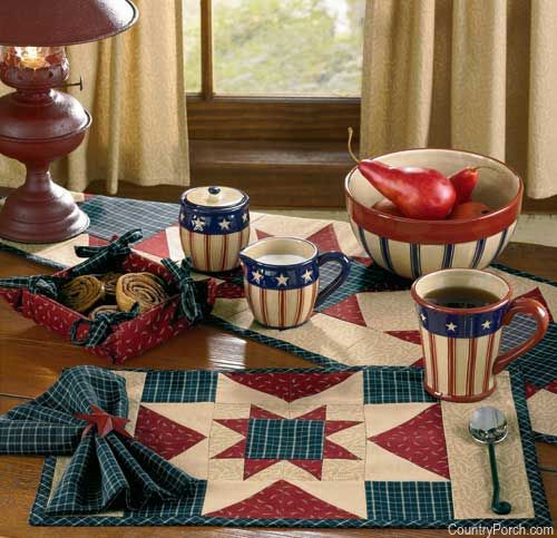 Ohio Star Table Setting In Red White Blue Placemat Napkins Kitchen Decor Themes Country House Decor Decor