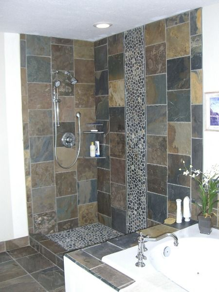 More slate with river rock details architectural for River rock bathroom ideas