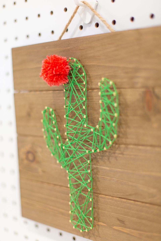 How to Make Cactus String Art #cactuscraft