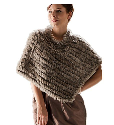 LondonProm @ Genuine Rabbit Fur/ Fox Fringed Fur Poncho/ Wraps 100% Real  Knitted