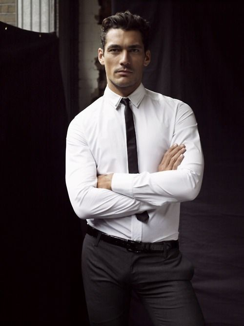 michelozzo: David Gandy in white dress shirt and tiniest tie ...