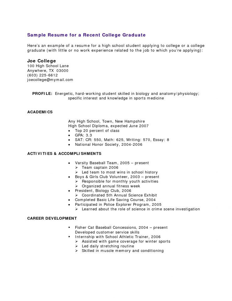 Resume Sample Free Resume Examples Sample For High School Graduate Resume Example High Scho High School Resume High School Resume Template College Resume