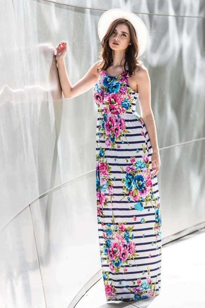 18e6e1fc4e5 Sophie Floral Stripe Maxi Dress   Navy – GOZON Boutique