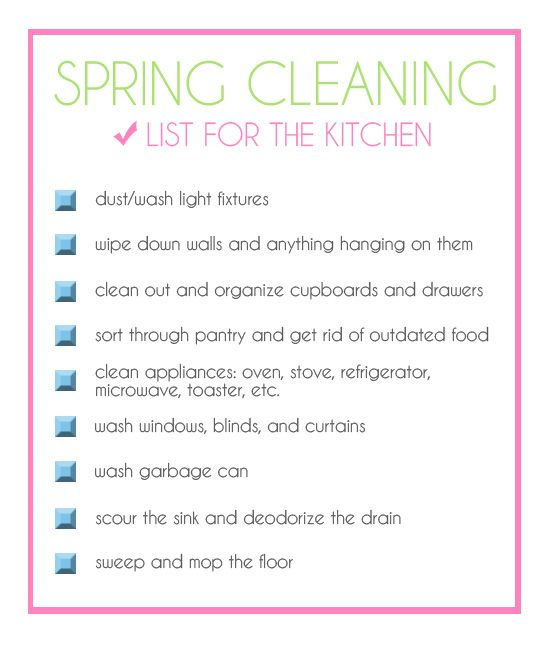 This is a great resource for lots of cleaning tips  She lists things like  uses for cream of tarter  lemon juice  etc  Kitchen cleaning Checklist. Checklist for spring cleaning the kitchen  plus a ton of other