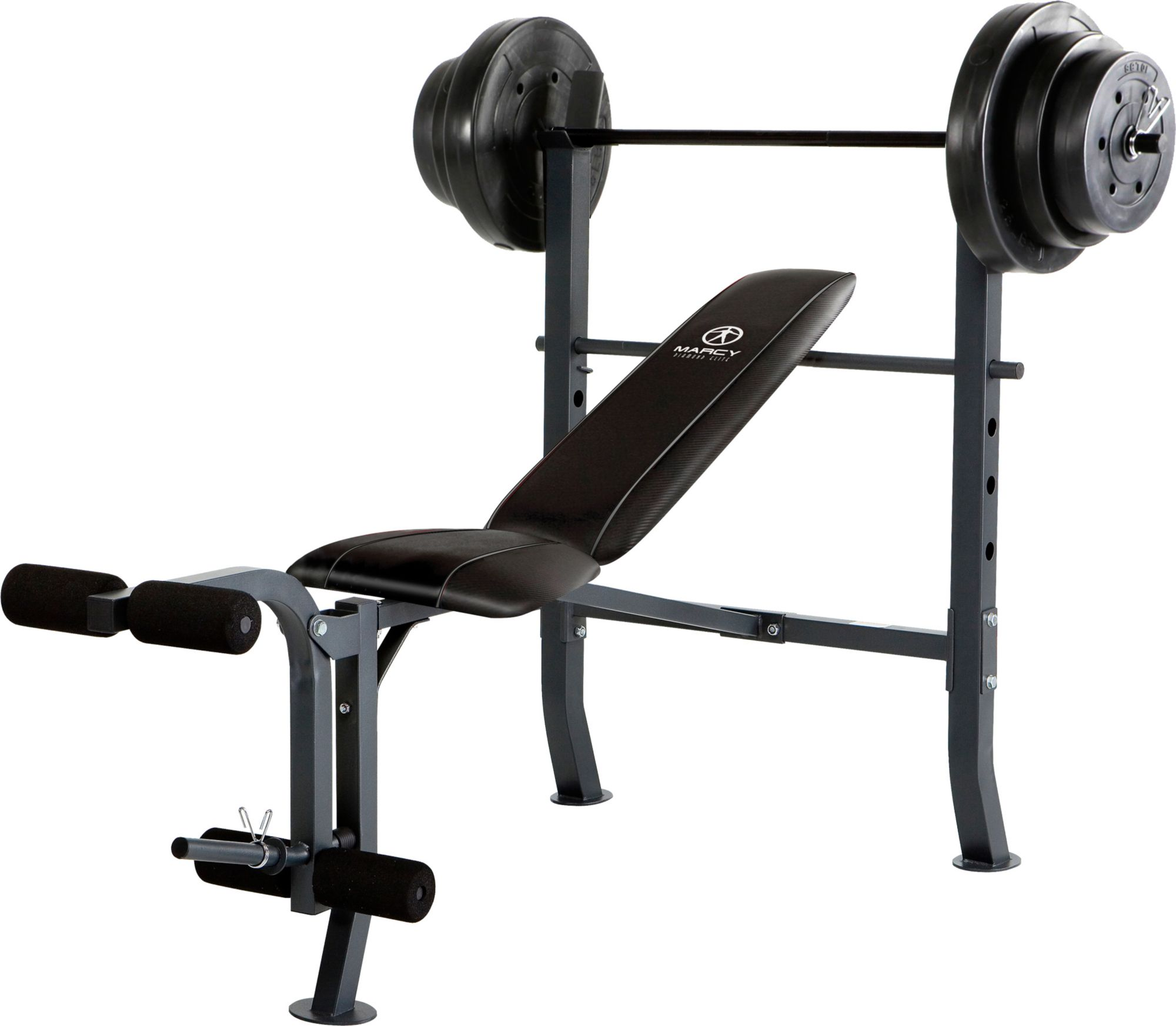 Marcy Mid-Width Weight Bench and 100 lbs. Weight Set ...