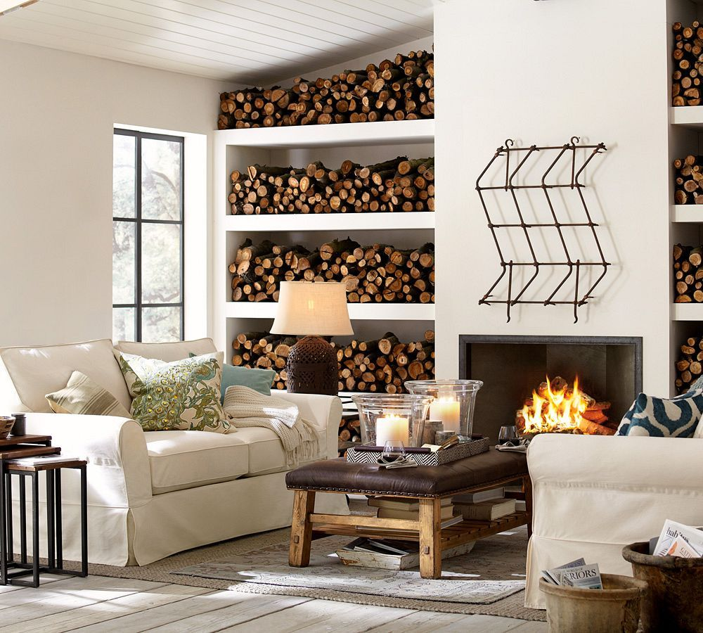 Cozy Rustic Living Room Fireplaces: Cozy Up By The Fireplace. #potterybarn